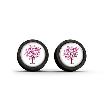 Wooden earrings - Tree of love - black