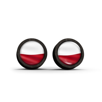 Wooden earrings - Polish flag - black