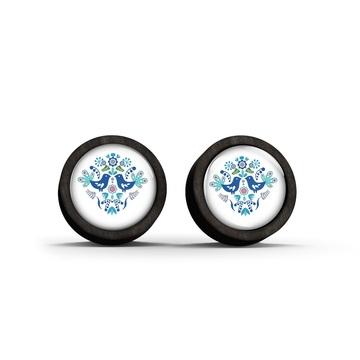 Wooden earrings - Folk birds, blue - black