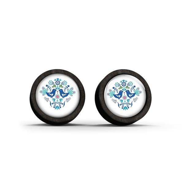 Kolczyki sztyfty drewniane - Folkowe ptaszki, niebieskie - czarne