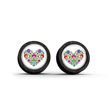 Wooden earrings - Folk heart - black