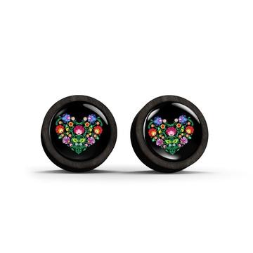 Wooden earrings - Folk heart, black - black