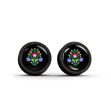 Wooden earrings - Folk pattern, black - black
