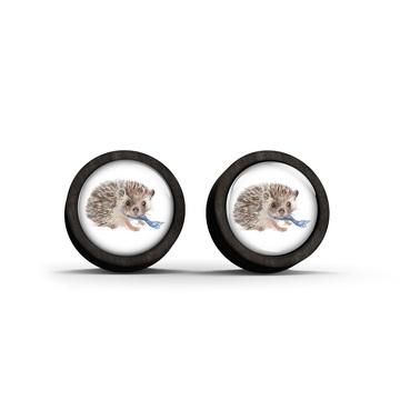 Wooden stud earrings - Hedgehog - black