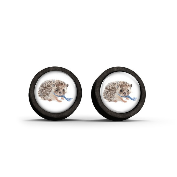 Wooden stud earrings - Hedgehog - black