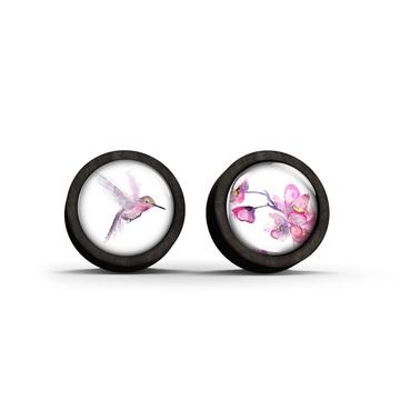 Wooden earrings - Koliber_1a - black
