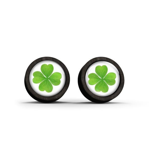 Wooden earrings - Clover - black