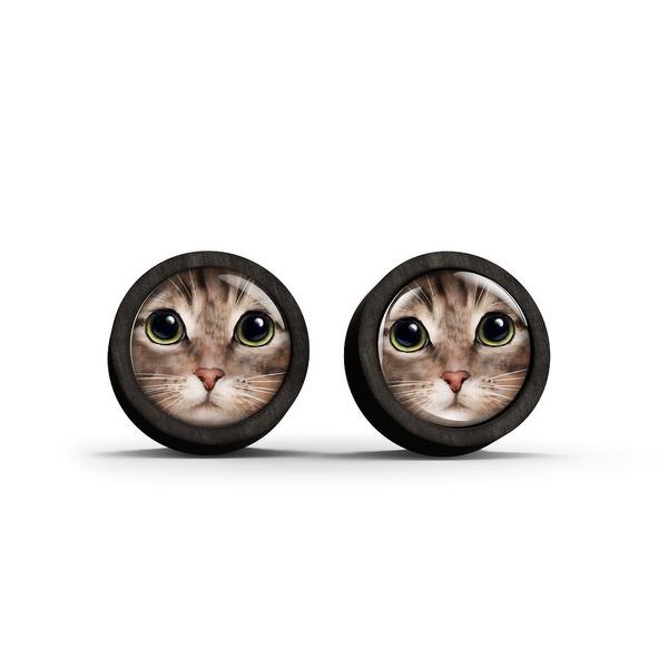 Kolczyki sztyfty drewniane - Kot tygrysek - czarne