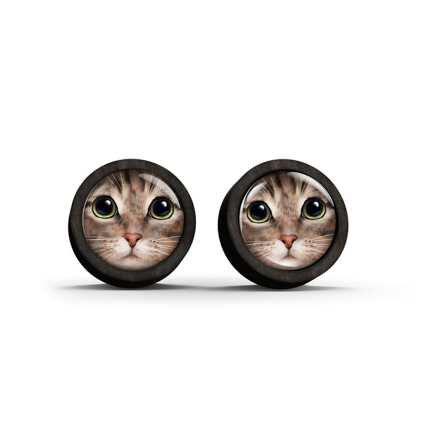Wooden earrings - Tigger cat - black