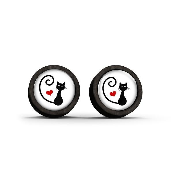 Wooden earrings - Kitty heart - black
