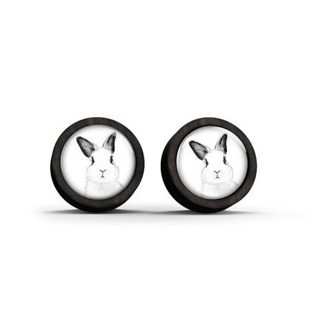 Wooden earrings - Rabbit - black