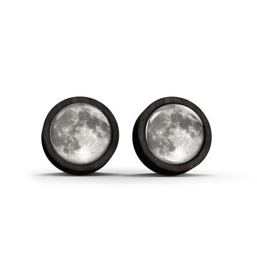 Wooden earrings - Moon - black