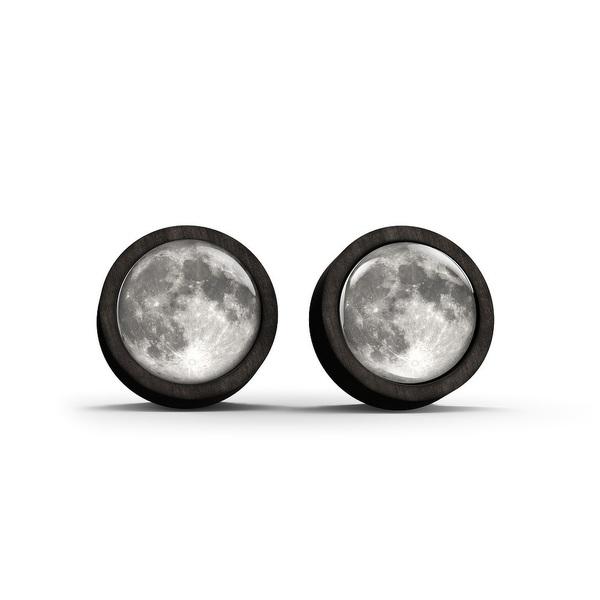 Kolczyki sztyfty drewniane - Księżyc - czarne