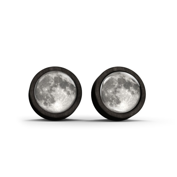 Wooden earrings - Moon - black