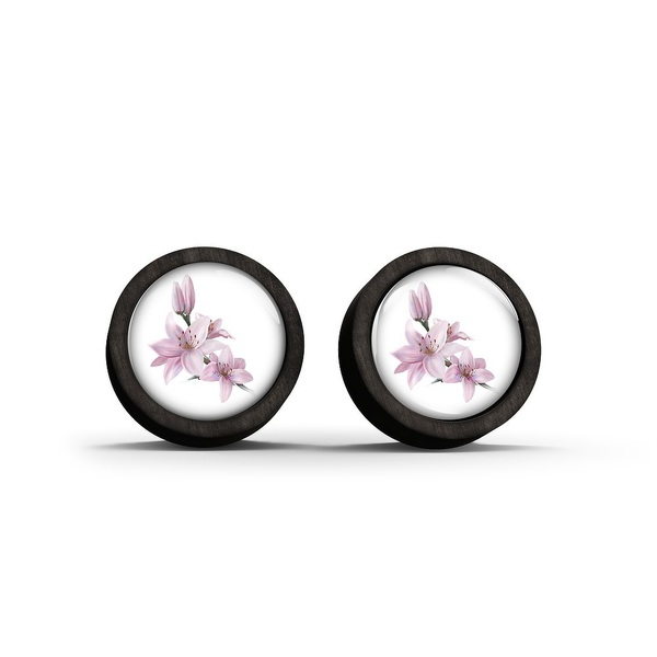 Wooden earrings - Lily - black
