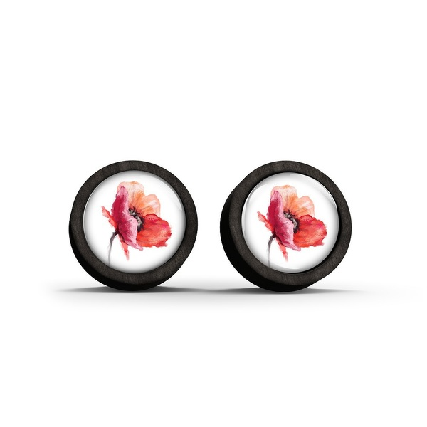 Wooden earrings - Poppy - black