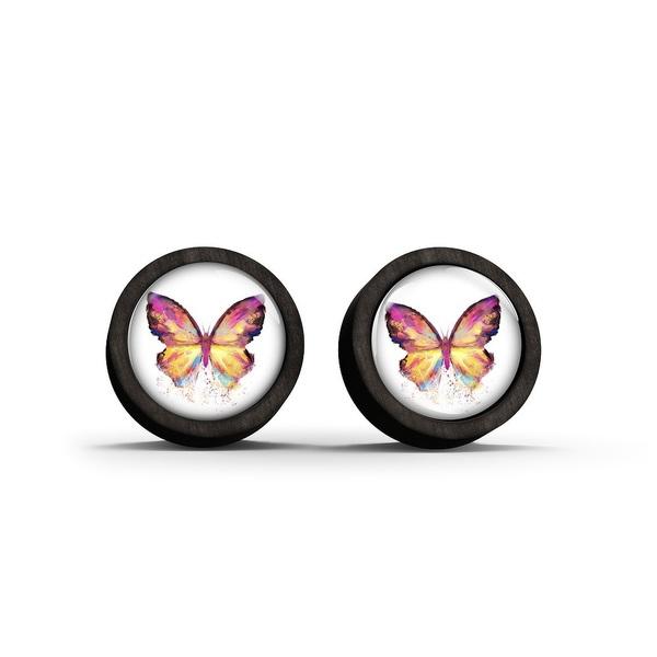 Kolczyki sztyfty drewniane - Motyl - czarne