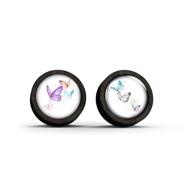 Wooden earrings - Butterflies - black