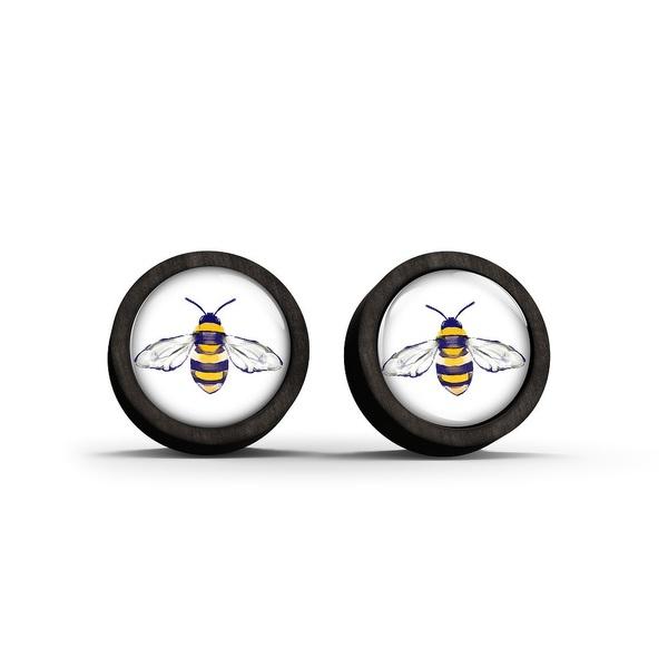 Kolczyki sztyfty drewniane - Pszczoła - czarne