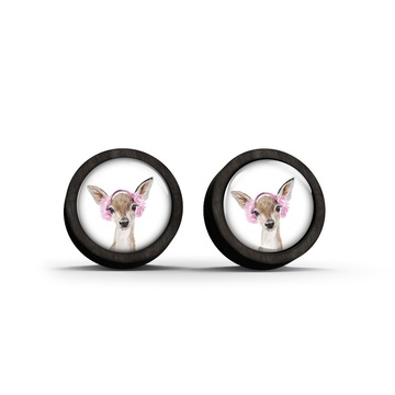 Wooden earrings - Roe-deer - black