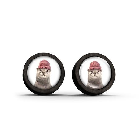 Wooden earrings - Otter - black