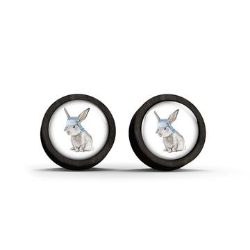 Wooden earrings - Hare - black