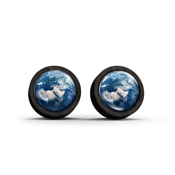 Kolczyki sztyfty drewniane - Ziemia - czarne