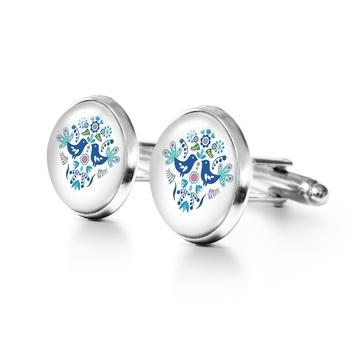 Yenoo cufflinks - Folk birds, blue