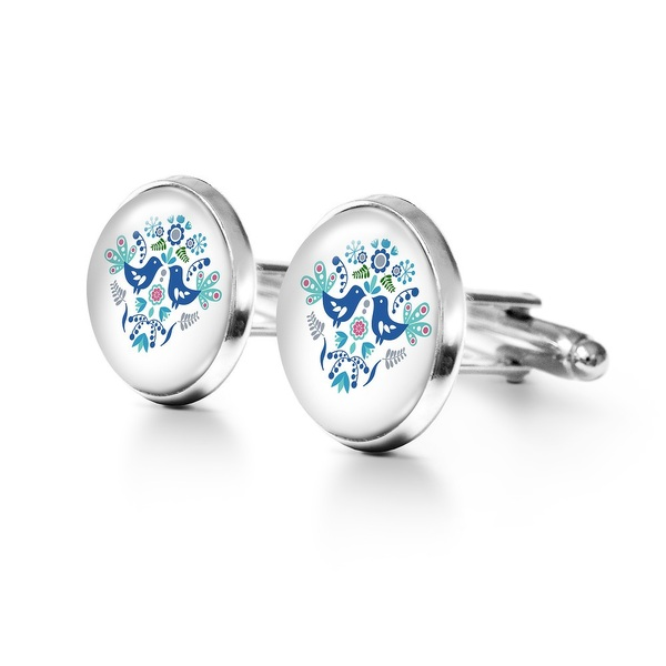 Yenoo cufflinks - Folk birds, blue