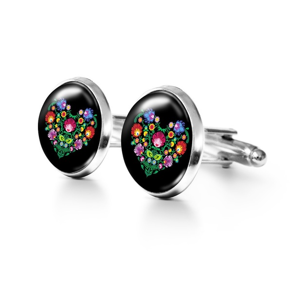 Yenoo Cufflinks - Folk heart, black