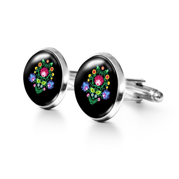 Yenoo cufflinks - Folk pattern, black