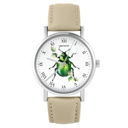 Yenoo watch - Green Bettle - beige, leather