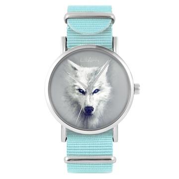LiliArts watch - White Wolf - blue, nylon
