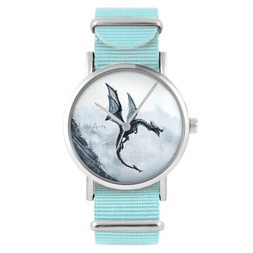 LiliArts watch - Black dragon - blue, nylon