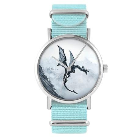 Zegarek LiliArts - Czarny smok - niebieski, nylonowy
