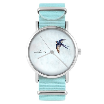 LiliArts watch - Swallow - blue, nylon