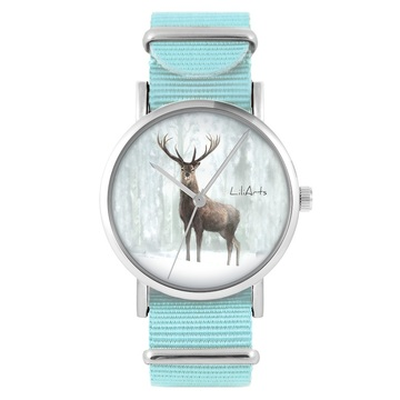 LiliArts watch - Deer 3 - blue, nylon
