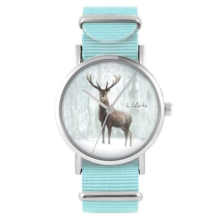 LiliArts watch - Deer 3 - blue, nylon