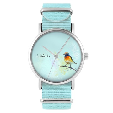 LiliArts watch - Colorful bird - blue, nylon