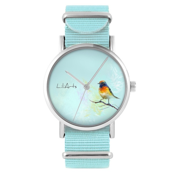 LiliArts watch - Colorful bird - blue, nylon