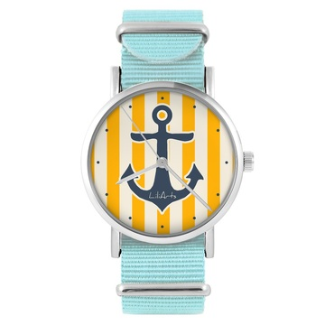 LiliArts watch - Anchor - blue, nylon