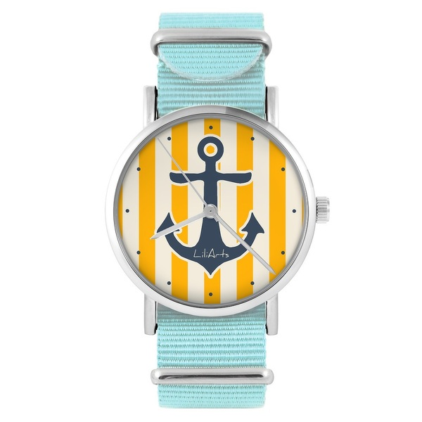 LiliArts watch - Anchor - blue, nylon