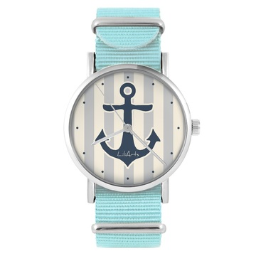 LiliArts watch - Gray anchor - blue, nylon