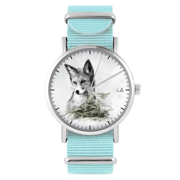 LiliArts watch - Fox - Into The Wild - blue, nylon