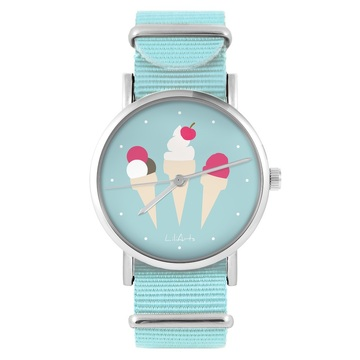LiliArts watch - Ice cream - blue, nylon