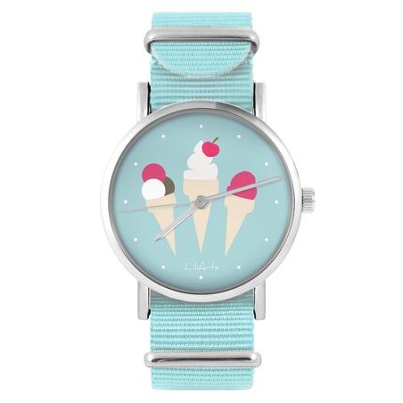 LiliArts watch - Ice cream - blue, nylon