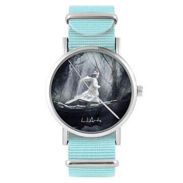 LiliArts watch - Magic Forest - blue, nylon