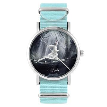 Zegarek LiliArts - Magiczny las - niebieski, nylonowy