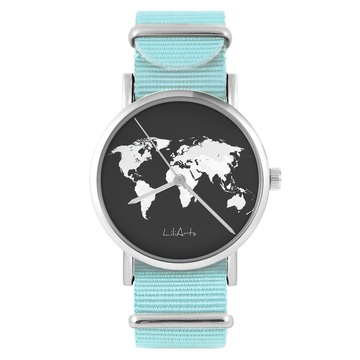 LiliArts watch - World map - blue, nylon