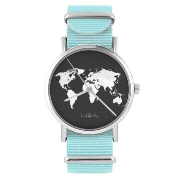 Zegarek LiliArts - Mapa świata - niebieski, nylonowy